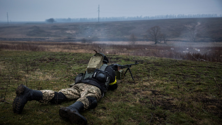 Ukrainian Troops Train Outside Of Mariupol