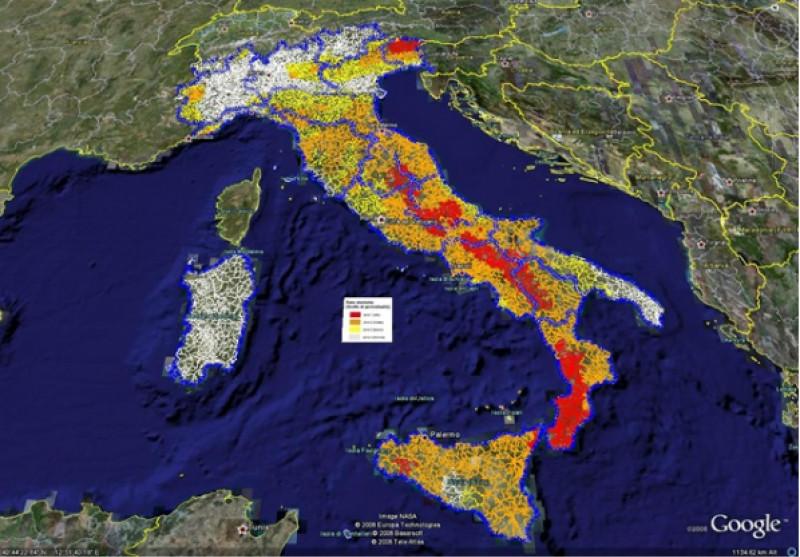 harta pericol de seisme italia
