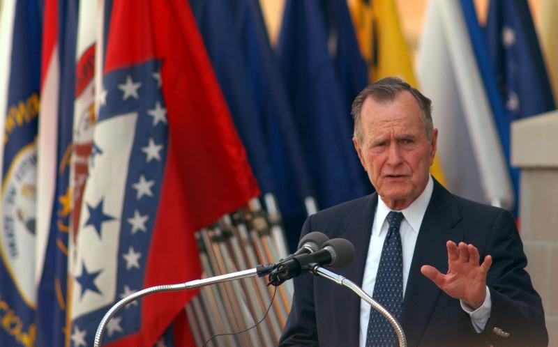 Former President George H. W. Bush Attends Building Dedication At Fort Bragg