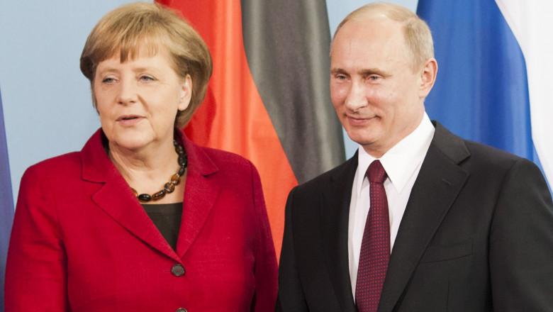 Putin Meets With Merkel In Berlin