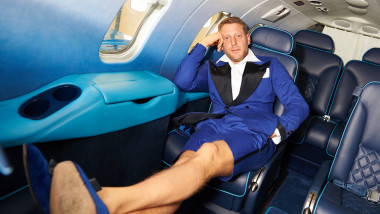 Lapo Elkann Unveils The New Learjet 31 'Nel Blu Dipinto Di Blu' Unveling At Linate SEA Prime