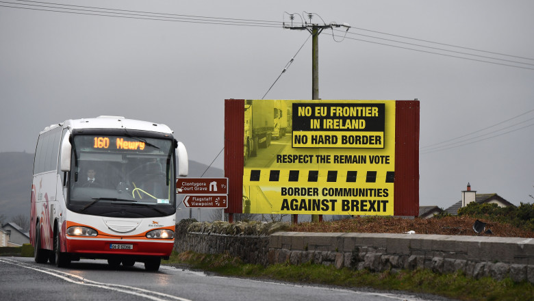 Brexit Sign At The Border Between Northern Ireland And The South