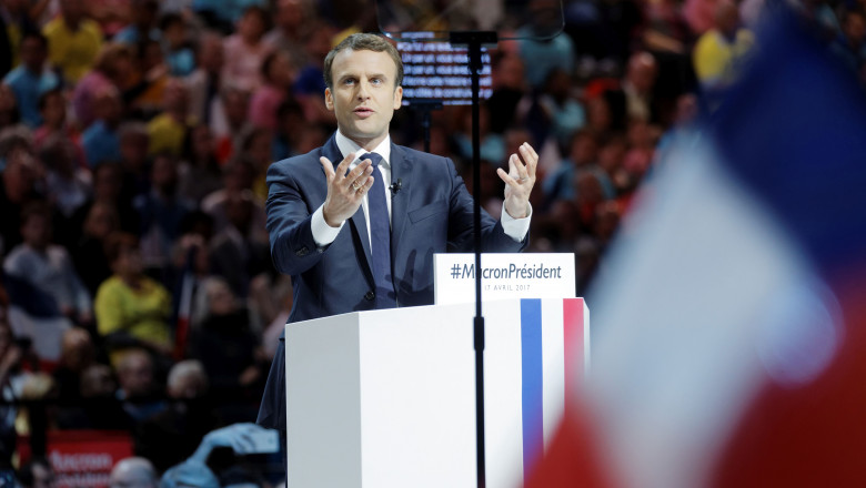 French Presidential Candidate Emmanuel Macron Holds Campaign Rally