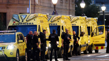 Van Hits Crowds In Barcelona's Las Ramblas