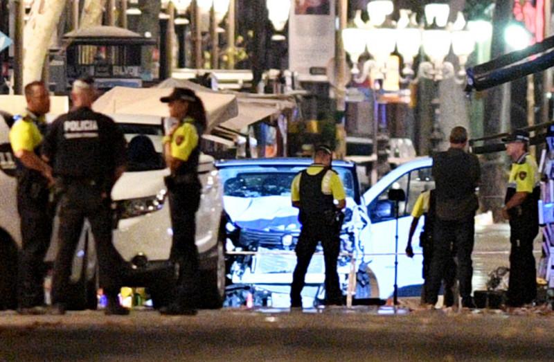 Van Hits Crowds In Barcelona's Las Ramblas