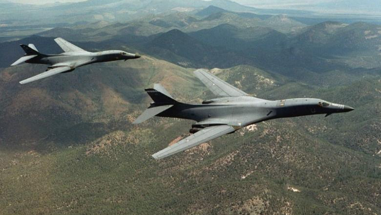 A pair of B-1B Lancer bombers soar over Wyoming