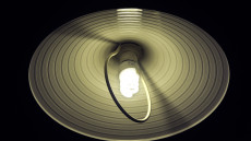 Electronic lamp with low-power light bulb.