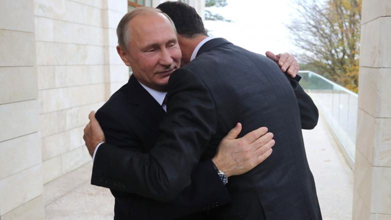 assad imbratisat cu putin- kremlin