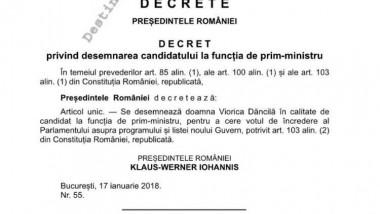 decret desemnare Viorica Dancila premier 180118