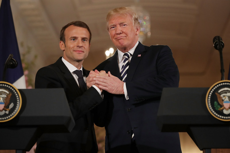 President Trump And French President Macron Hold Joint News Conference In East Room
