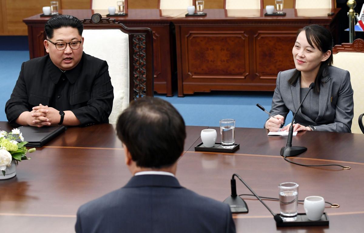 Kim Jong Un và Kim Yo Jong tại hội nghị thượng đỉnh liên Triều tại Paju, Hàn Quốc