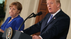 President Trump And German Chancellor Angela Merkel Hold Joint News Conference In East Room Of White House