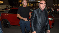 Domenico Dolce & Stefano Gabbana Arrive To New Boutique Opening Event On Audi Q2