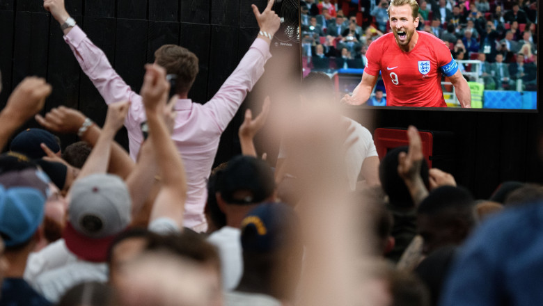 Football Fans Watch As England Take On Colombia In The FIFA World Cup