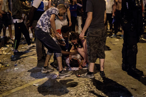 Fans Celebrate The Outcome Of The World Cup Final Between France And Croatia