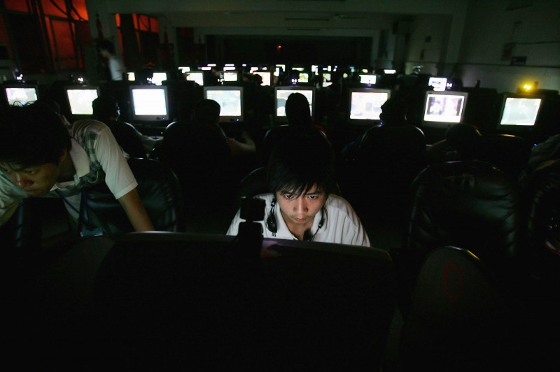 Chinese Youngers Play Online Games At An Internet Cafe In Wuhan