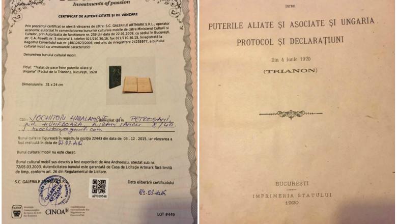 Tratatul de la Trianon, care consfinţeşte statul român