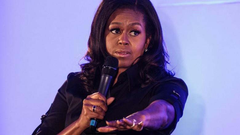 Michelle Obama Visits Pupils At The Elizabeth Garrett Anderson School In North London