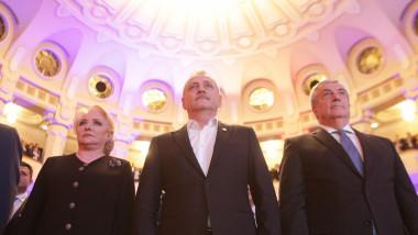 Viorica Dancila, Liviu Dragnea și Calin Popescu Tariceanu la Consiliul Național al PSD