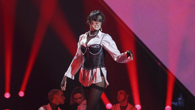 Ukrainian singer Anna Korsun or MARUV performs during the national selection for the Eurovision song contest in Kiev.