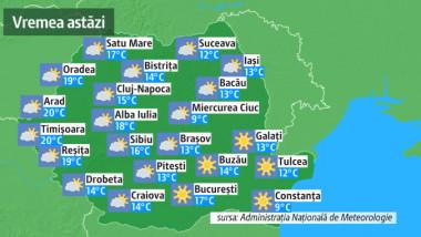 Prognoza meteo pentru joi, 7 martie. Temperaturi de 20 de grade Celsius în vest, vânt la munte
