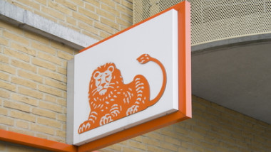 Logo of the ING bank in Hoogeveen, Netherlands