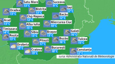 Prognoza meteo pentru marți, 19 martie. Vreme schimbătoare, vânt și ploi