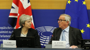 British Prime Minister Makes A Statement On Brexit From Strasbourg