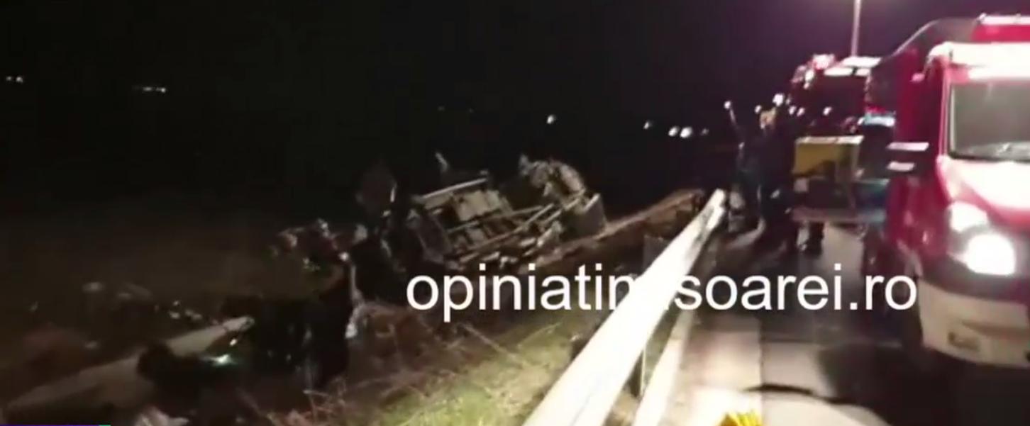 Accident rutier grav. Un barbat a murit in timp ce repara o pana, pe autostrada Timisoara-Lugoj