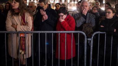 Crowds Attend Memorial Service At Notre Dame Cathedral In Paris