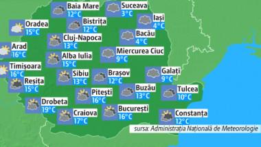 Prognoza meteo pentru marți, 16 aprilie 2019. Se întorc ploile, iar la munte vor fi precipitații mixte