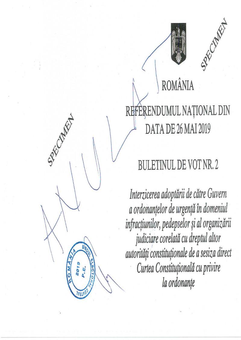 Referendumul pentru justiție din 26 mai. Cum arată buletinele de vot