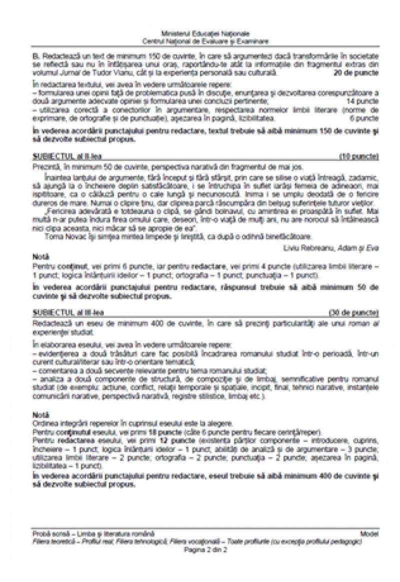 Bacalaureat 2019, modele subiecte limba română