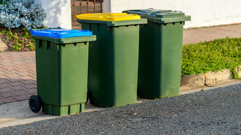 Kerbside bins ready for collection