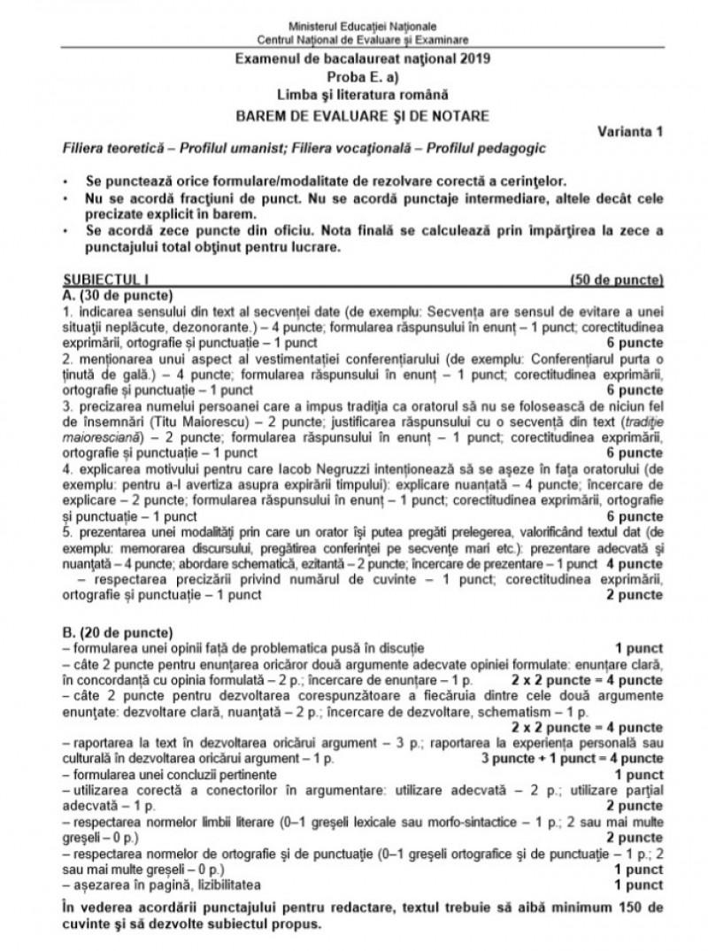Barem limba română Bacalaureat 2019 - Profilul uman