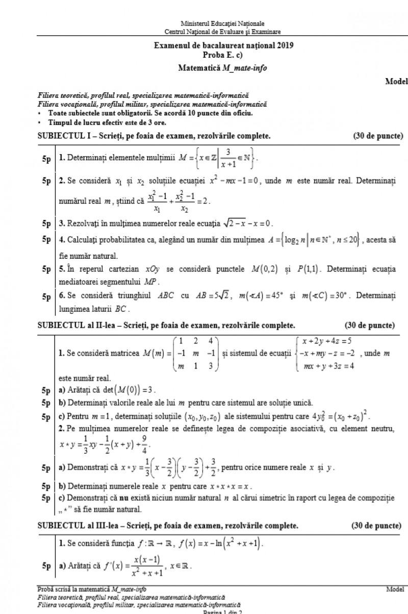 model subiect matematică
