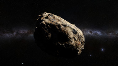 dwarf planet of the asteroid belt lit by Sun and the galaxy