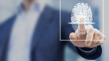 Fingerprint scan provides security access with biometrics identification