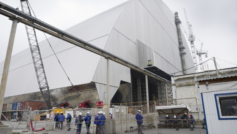 The new reactor shelter in Chernobyl nuclear power plant
