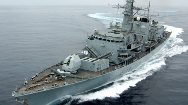 HMS Montrose, a Type 23 Frigate, performed a series of tight turns, during Marstrike 05.