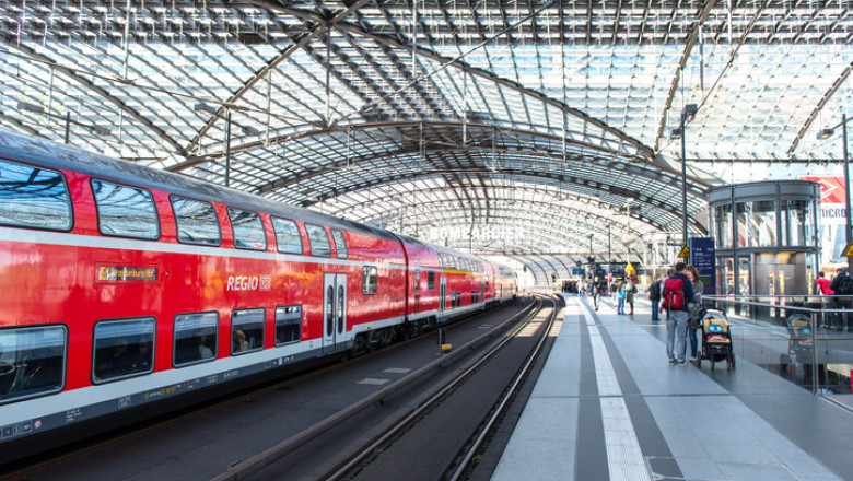 red train in Berlin central railroad station