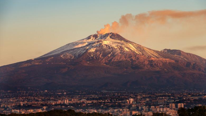 Mount Etna Volcano and Catania city - Sicily island Italy