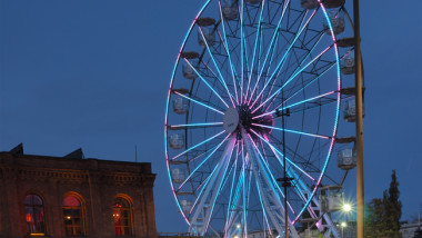 Night time ferris wheel with led ligts