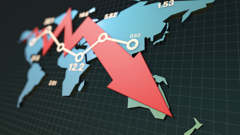 Declining economy, financial bankruptcy, sluggish stock market with world map