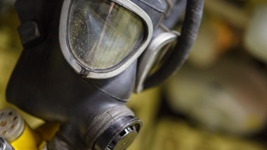 old fashioned black gas mask