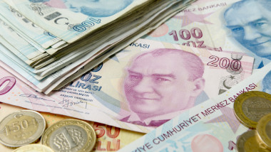 Background of Turkish Lira banknotes.