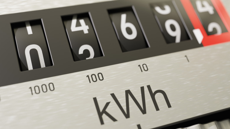 Close-up view on electrometer measuring electricity consumption. 3D rendered illustration.