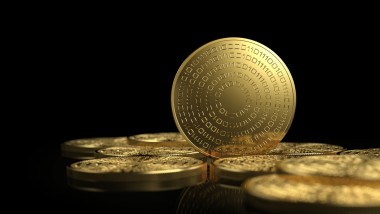 Gold coins isolated on white background. Cryptocurrency concept.