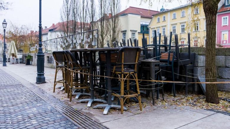 Closed and empty bars, restaurants and cafes due to Coronavirus in the Ljubljana city, Slovenia.