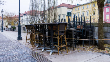 Closed and empty bars, restaurants and cafes due to Coronavirus in the Ljubljana city, Slovenia.